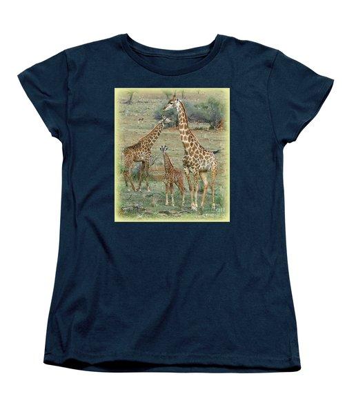 Women's T-Shirt (Standard Cut) featuring the photograph Giraffe Family by Myrna Bradshaw