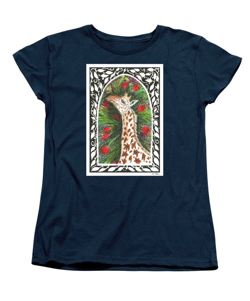 Giraffe In Archway Women's T-Shirt (Standard Cut) by Lise Winne