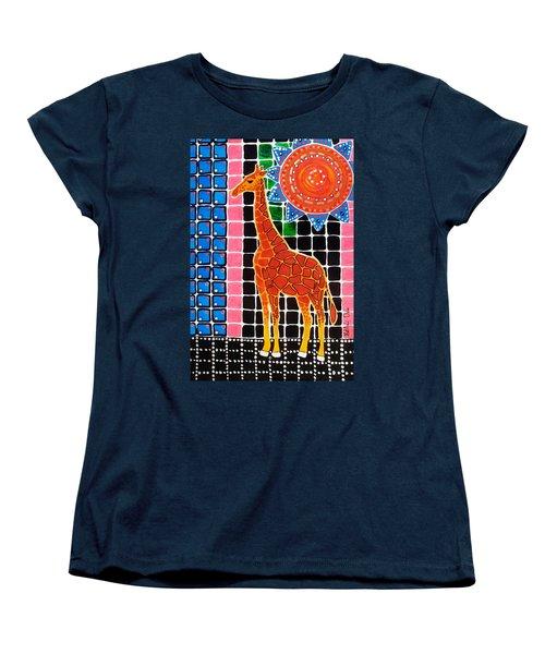 Women's T-Shirt (Standard Cut) featuring the painting Giraffe In The Bathroom - Art By Dora Hathazi Mendes by Dora Hathazi Mendes