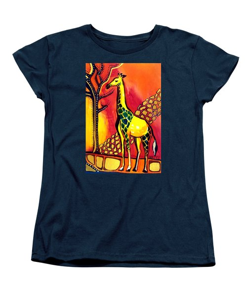 Women's T-Shirt (Standard Cut) featuring the painting Giraffe With Fire  by Dora Hathazi Mendes