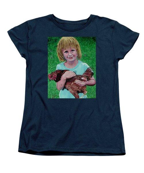 Girl And Chicken Women's T-Shirt (Standard Cut) by Stan Hamilton