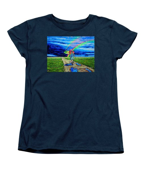 Women's T-Shirt (Standard Cut) featuring the painting Girl And Puddle by Viktor Lazarev