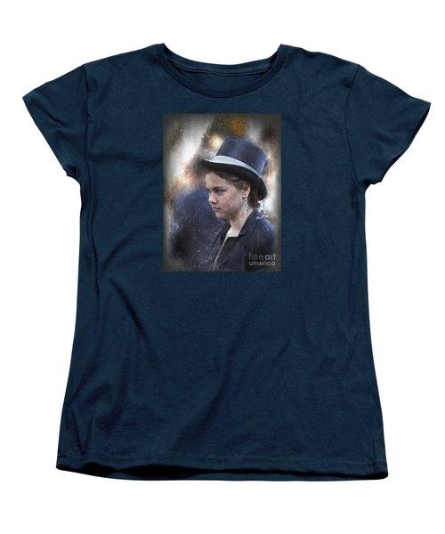 Girl In A Dark Blue Hat Women's T-Shirt (Standard Cut) by Elaine Teague