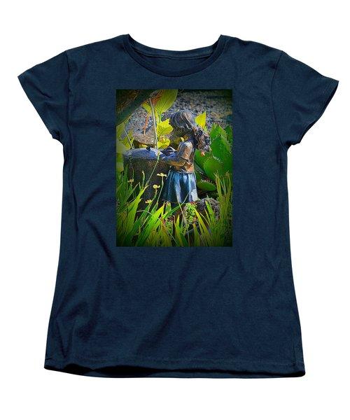 Women's T-Shirt (Standard Cut) featuring the photograph Girl In The Garden by Lori Seaman
