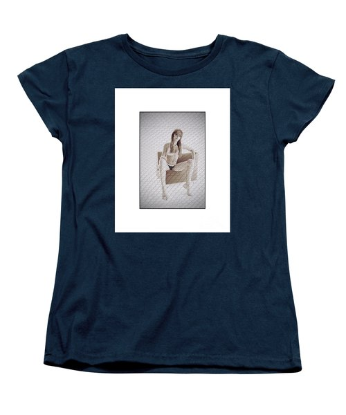 Women's T-Shirt (Standard Cut) featuring the photograph Girl In Underwear Sitting On A Chair by Michael Edwards