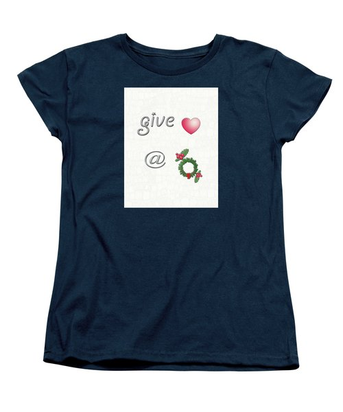 Give Love At Christmas Women's T-Shirt (Standard Cut) by Linda Prewer