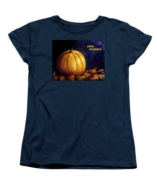 Give Thanks Autumn Painting Women's T-Shirt (Standard Cut)