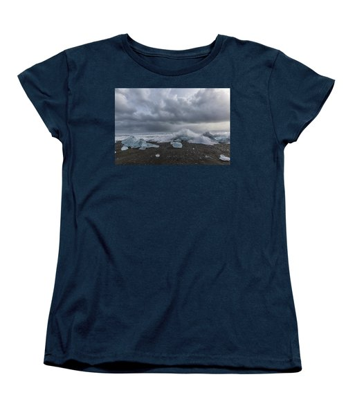 Women's T-Shirt (Standard Cut) featuring the tapestry - textile Glacier Ice 2 by Kathy Adams Clark