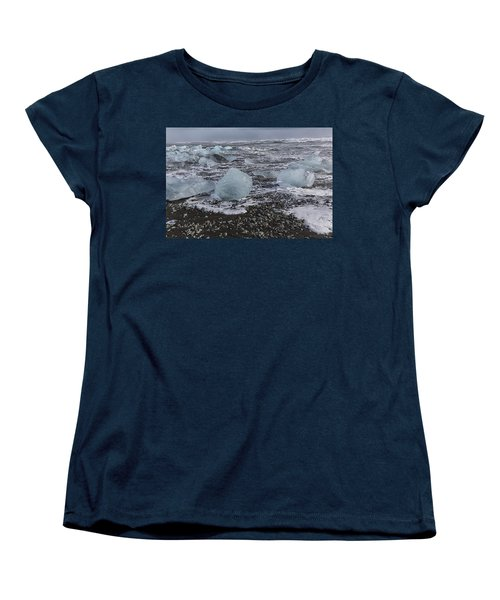Women's T-Shirt (Standard Cut) featuring the tapestry - textile Glacier Ice 3 by Kathy Adams Clark