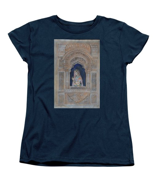 Women's T-Shirt (Standard Cut) featuring the painting Glancing From Her Window by Vikram Singh
