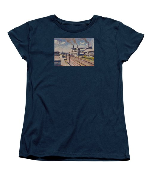Women's T-Shirt (Standard Cut) featuring the painting Glass Factory Along The Railway Track by Nop Briex