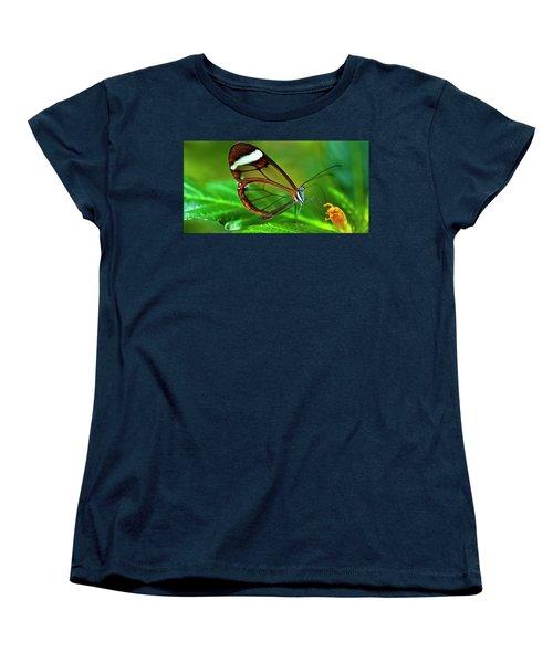 Women's T-Shirt (Standard Cut) featuring the photograph Glasswinged Butterfly by Ralph A Ledergerber