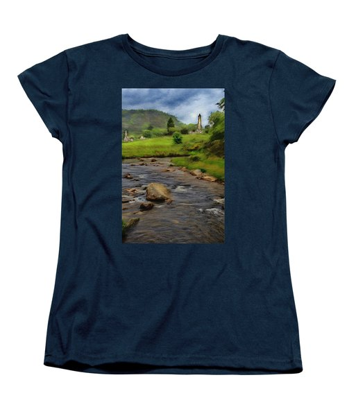 Women's T-Shirt (Standard Cut) featuring the painting Glendalough In The Distance by Jeff Kolker