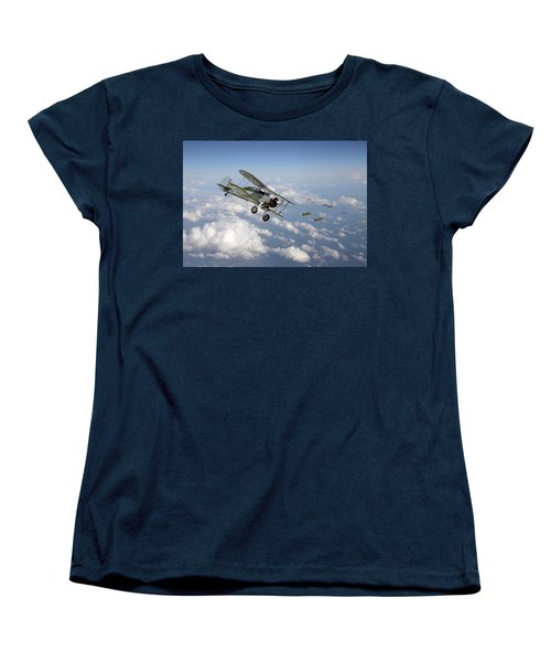 Women's T-Shirt (Standard Cut) featuring the digital art  Gloster Gladiator - Malta Defiant by Pat Speirs