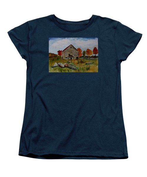 Women's T-Shirt (Standard Cut) featuring the painting Glover Barn In Autumn by Donna Walsh