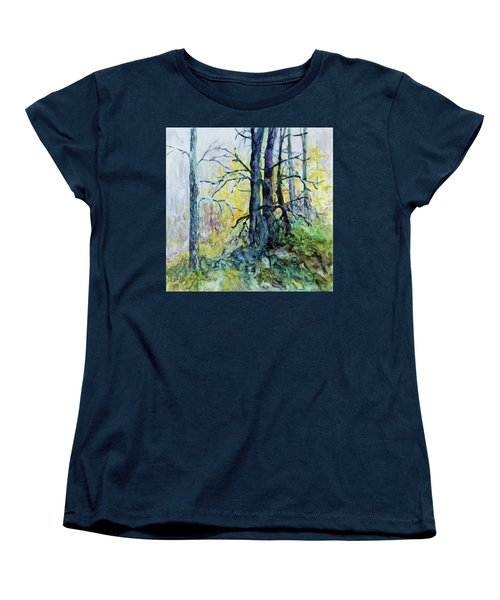 Women's T-Shirt (Standard Cut) featuring the painting Glow From The Tamarack by Joanne Smoley