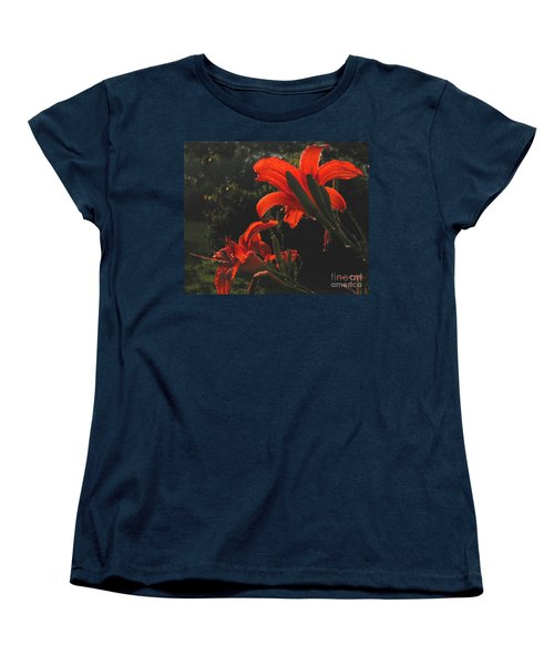 Women's T-Shirt (Standard Cut) featuring the photograph Glowing Day Lilies by Donna Brown