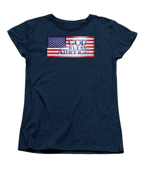 Women's T-Shirt (Standard Cut) featuring the mixed media God Bless America by Shevon Johnson