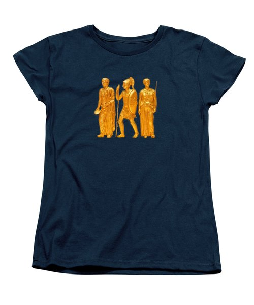 Women's T-Shirt (Standard Cut) featuring the photograph Gold Covered Greek Figures by Linda Phelps