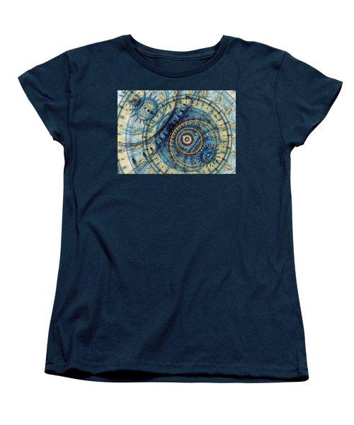 Golden And Blue Clockwork Women's T-Shirt (Standard Cut) by Martin Capek