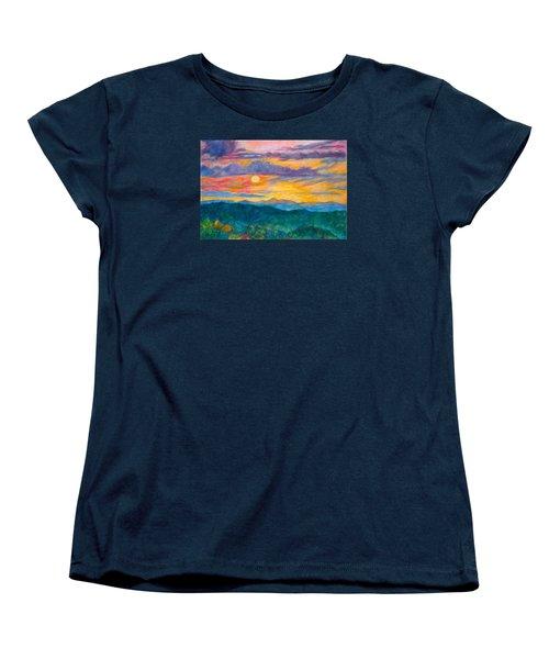 Women's T-Shirt (Standard Cut) featuring the painting Golden Blue Ridge Sunset by Kendall Kessler