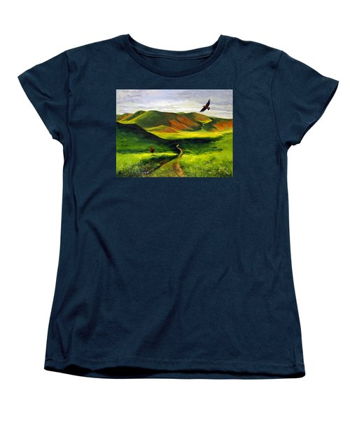 Women's T-Shirt (Standard Cut) featuring the painting Golden Eagles On Green Grassland by Suzanne McKee
