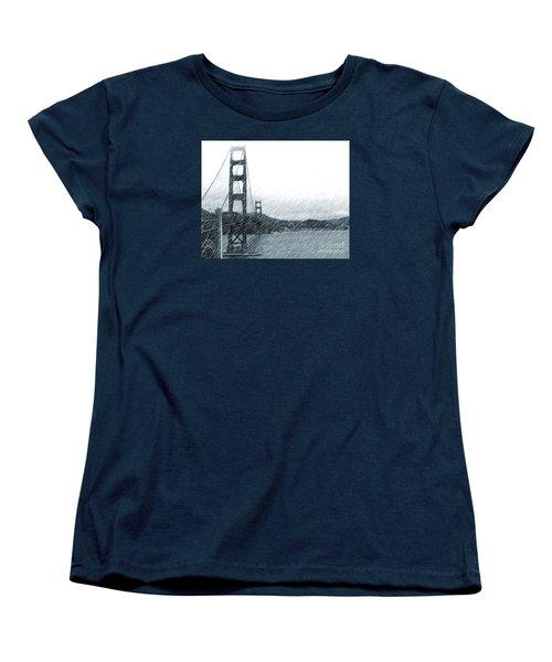 Women's T-Shirt (Standard Cut) featuring the photograph Golden Gate Blue Rain by Cheryl Del Toro