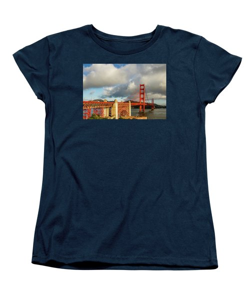 Women's T-Shirt (Standard Cut) featuring the photograph Golden Gate From Above Ft. Point by Bill Gallagher
