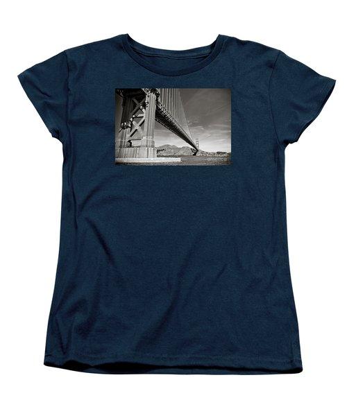 Golden Gate From The Water - Bw Women's T-Shirt (Standard Cut) by Darcy Michaelchuk