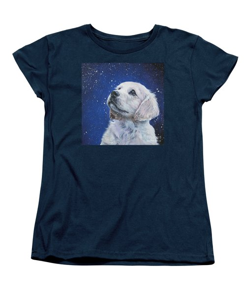Golden Retriever Pup In Snow Women's T-Shirt (Standard Cut) by Lee Ann Shepard
