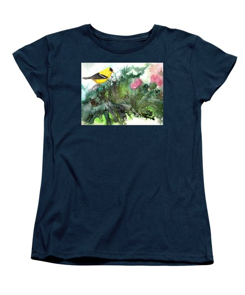 Women's T-Shirt (Standard Cut) featuring the painting Goldfinch by Sherry Shipley