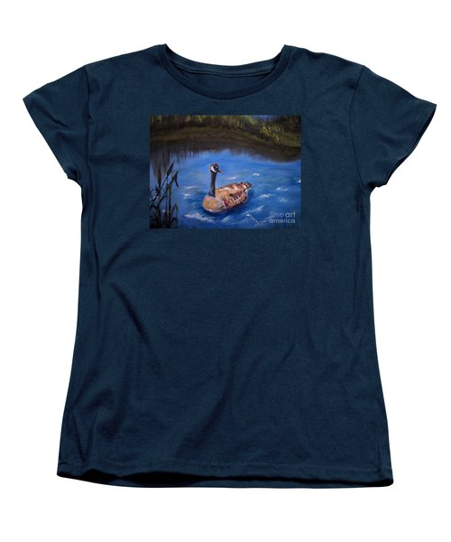 Women's T-Shirt (Standard Cut) featuring the painting Goose by Leslie Allen