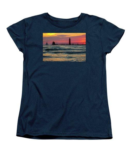 Grand Haven Pier Sail Women's T-Shirt (Standard Cut) by Pat Cook