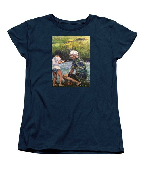 Women's T-Shirt (Standard Cut) featuring the painting Grandpa And I by Belinda Low