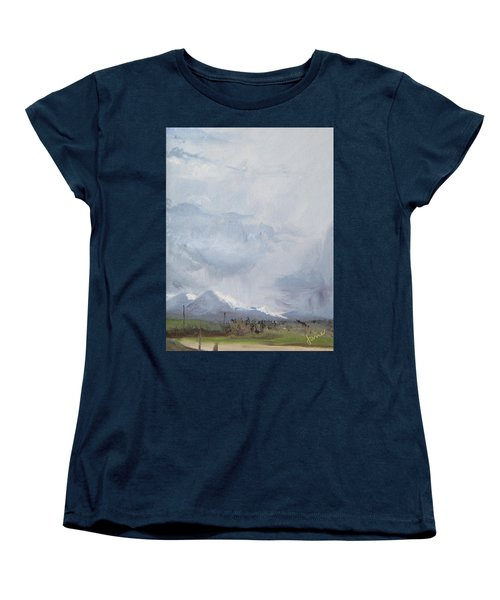Women's T-Shirt (Standard Cut) featuring the painting Grantsville Skies by Jane Autry