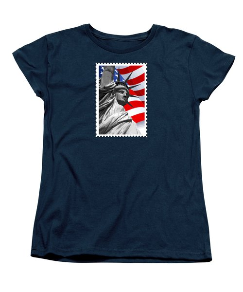 Graphic Statue Of Liberty With American Flag Women's T-Shirt (Standard Cut) by Elaine Plesser