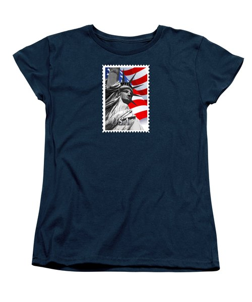 Graphic Statue Of Liberty With American Flag Text Usa Women's T-Shirt (Standard Cut) by Elaine Plesser