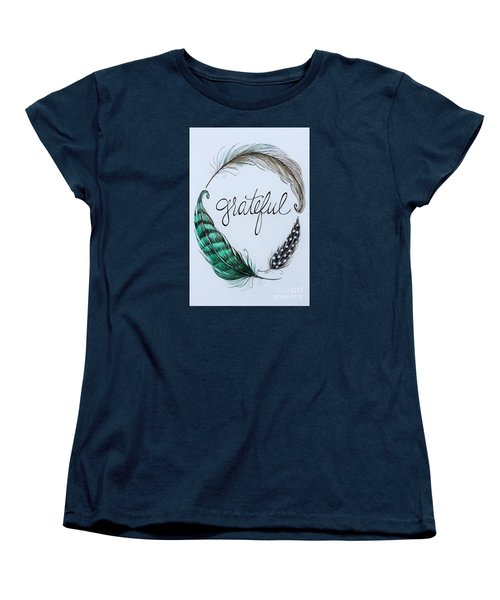 Women's T-Shirt (Standard Cut) featuring the painting Grateful by Elizabeth Robinette Tyndall
