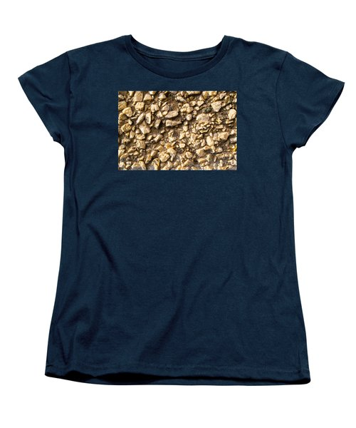 Women's T-Shirt (Standard Cut) featuring the photograph Gravel Stones On A Wall by John Williams