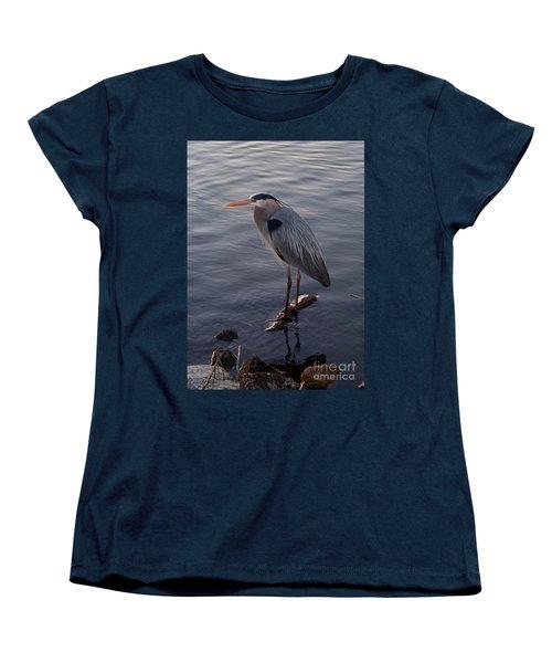 Women's T-Shirt (Standard Cut) featuring the photograph Great Blue Heron At Evening by Carol  Bradley