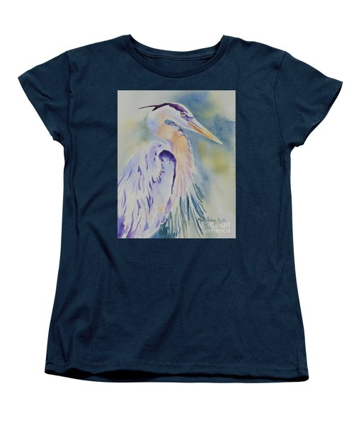 Women's T-Shirt (Standard Cut) featuring the painting Great Blue Heron by Mary Haley-Rocks