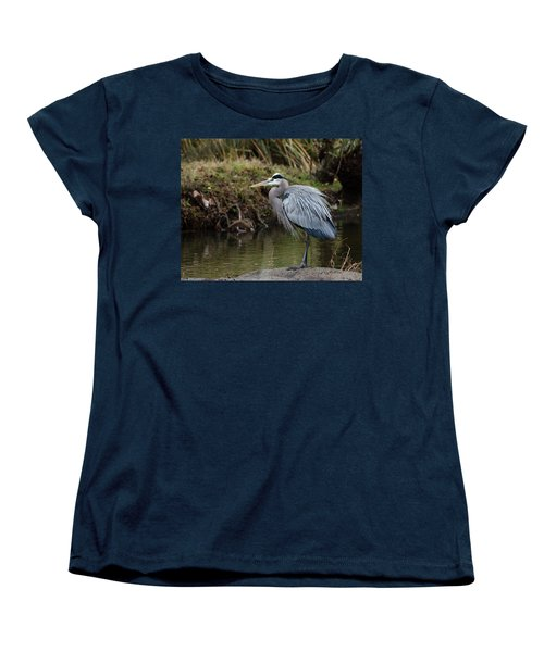 Women's T-Shirt (Standard Cut) featuring the photograph Great Blue Heron On The Watch by George Randy Bass