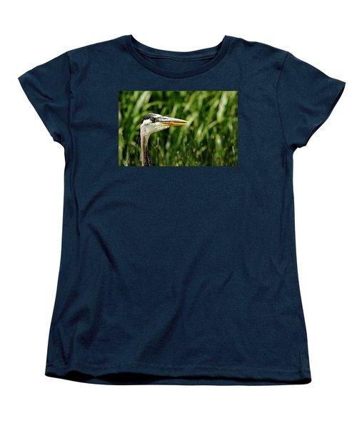 Women's T-Shirt (Standard Cut) featuring the photograph Great Blue Heron Portrait by Debbie Oppermann