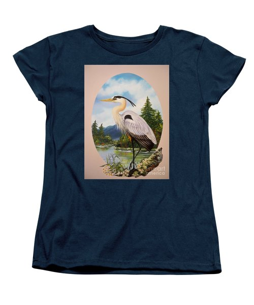 Women's T-Shirt (Standard Cut) featuring the painting Great Blue Heron by Sigrid Tune
