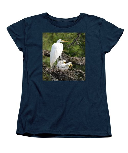 Great Egret Family  Women's T-Shirt (Standard Cut) by Richard Bryce and Family