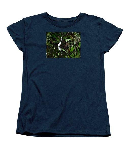 Great Egret In Pond Women's T-Shirt (Standard Cut) by Melinda Saminski