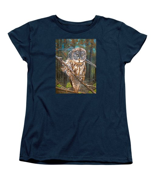 Women's T-Shirt (Standard Cut) featuring the painting Great Grey Owl 2 by Sharon Duguay