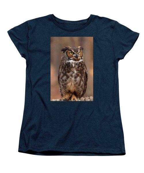 Women's T-Shirt (Standard Cut) featuring the digital art Great Horned Owl Digital Oil by Chris Flees