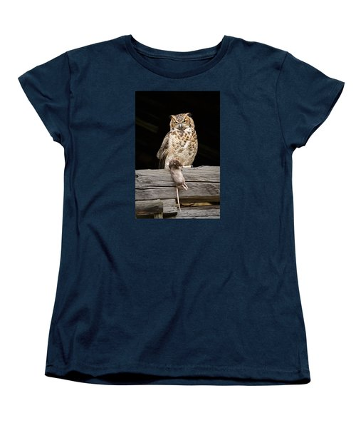 Women's T-Shirt (Standard Cut) featuring the photograph Great Horned Owl With Dinner by Tyson and Kathy Smith