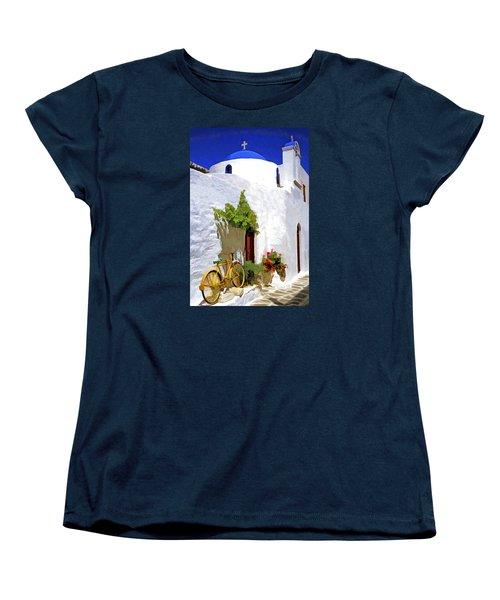 Greek Church With Bike Women's T-Shirt (Standard Cut) by Dennis Cox WorldViews